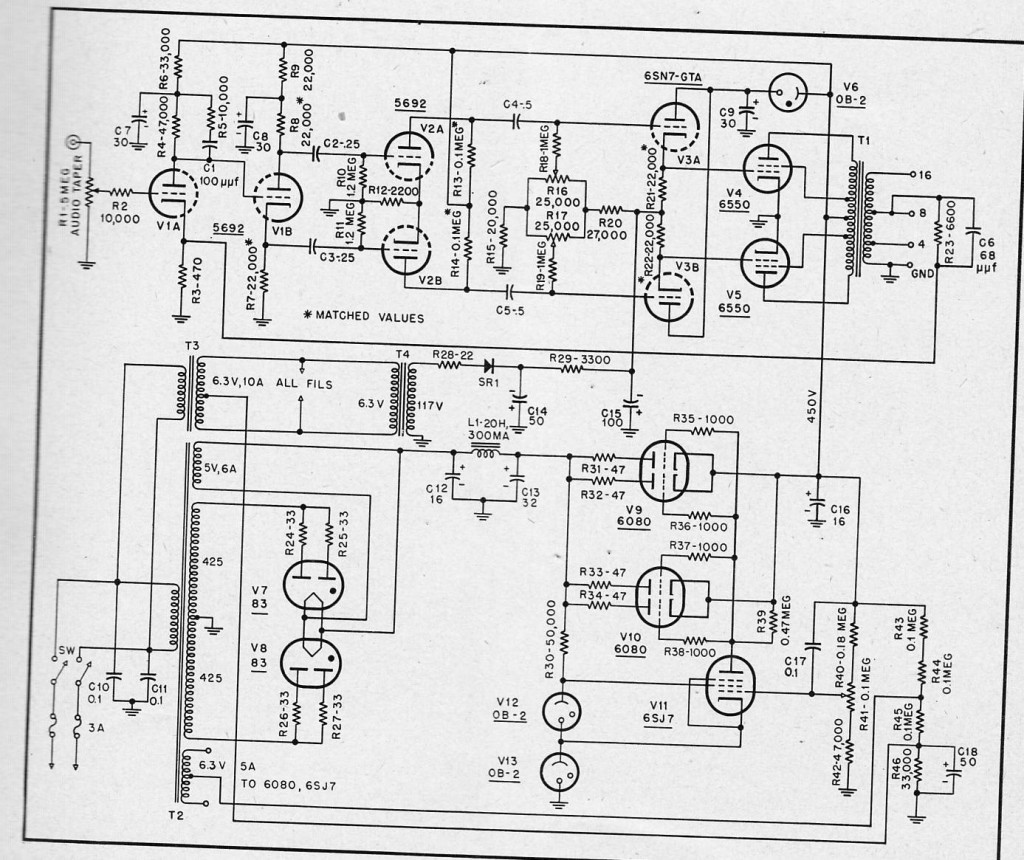 Schematics Preservation Sound Page 2 25 Watt Power Amplifier A 50 Ultralinear Amp Using 6550 Tubes