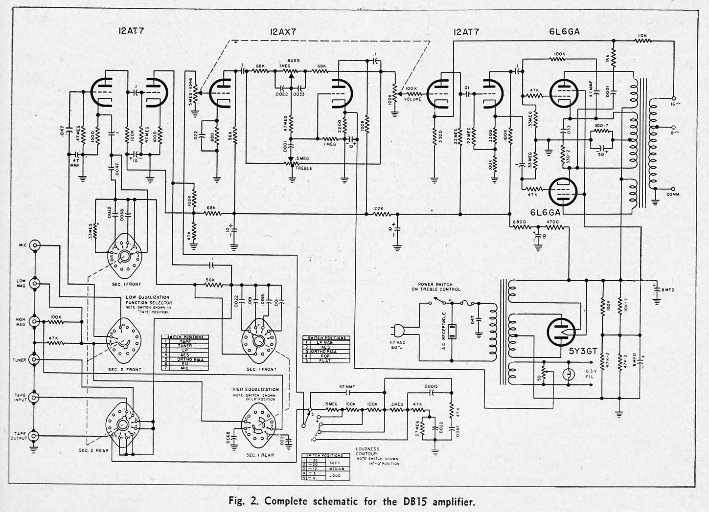 Bogen_DB15_Schem hi fi amplifier schematics c 1954 preservation sound Single Phase Transformer Wiring Diagram at reclaimingppi.co