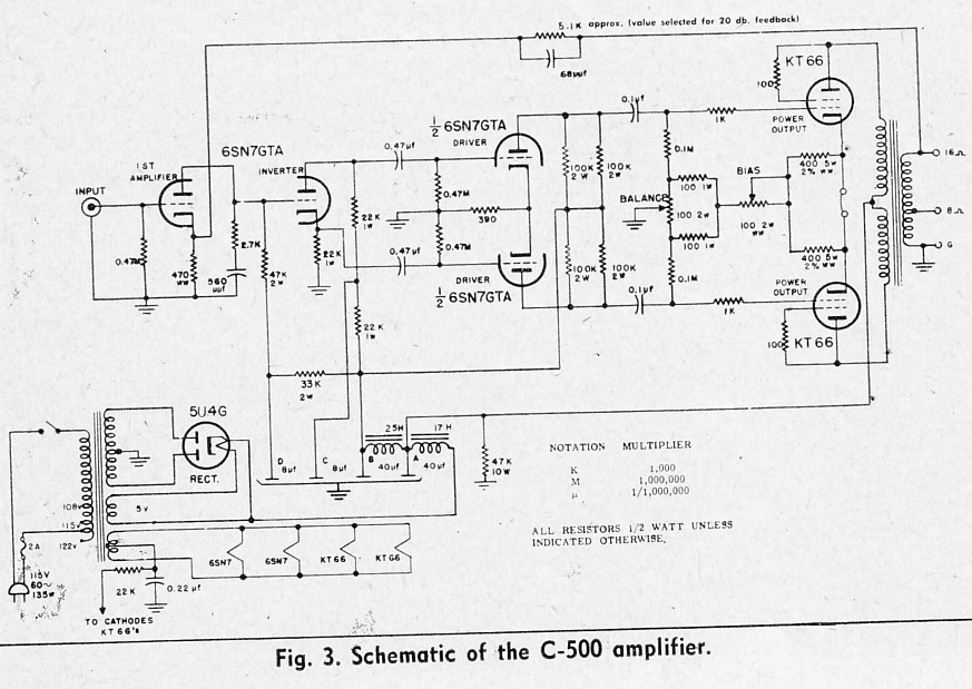Hi Fi Amplifier Schematics c. 1954 | Preservation Sound