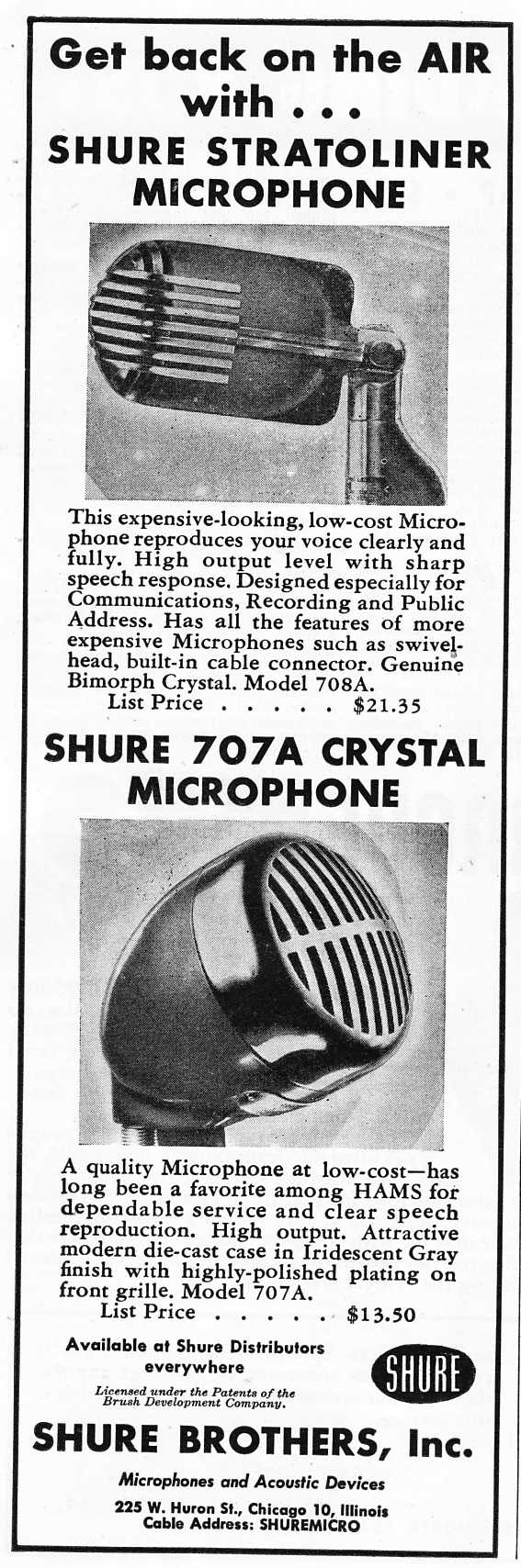 "Shure stratoliner 707A microphones2 The advert goes on add: ""For Ham use, we recommend the 708A Stratoliner and ..."