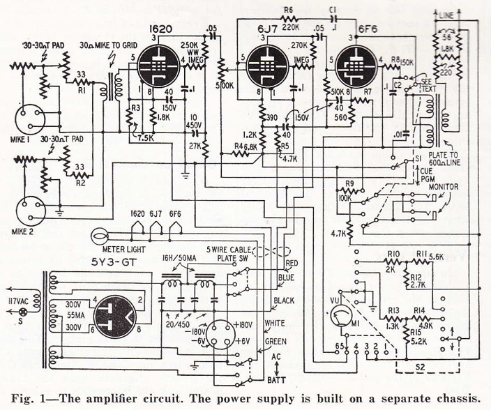 diy remote broadcast mic preamp c  1950
