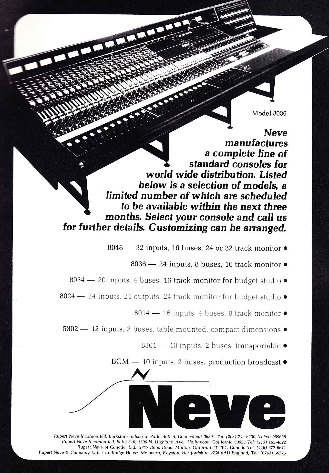 Neve_Console_Lineup_1974