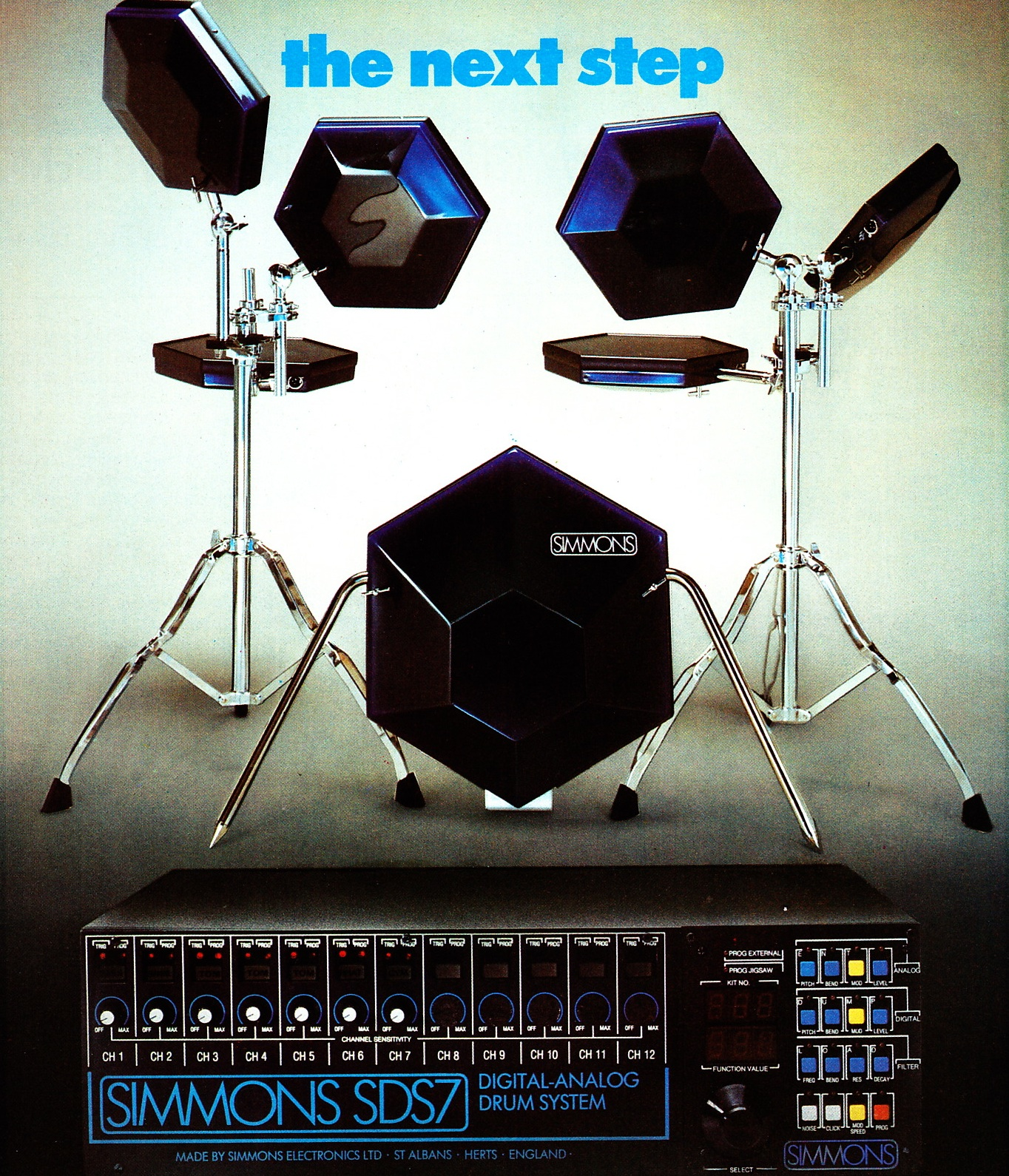 simmons electronic drums. simmons_claptrap_1984 simmons_sds7_1984 tama_techstar_1984 mpc_drums_1984 pearl_syncussionx_1986 simmons_1985 simmons electronic drums