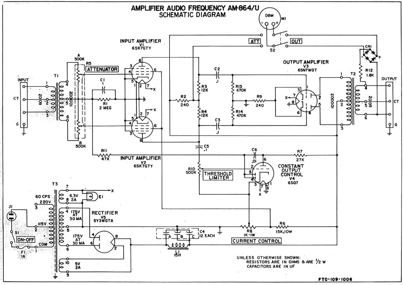 AM 864_Schem federal am 864 limiter clone build notes update 1 preservation Basic Electrical Wiring Diagrams at gsmx.co