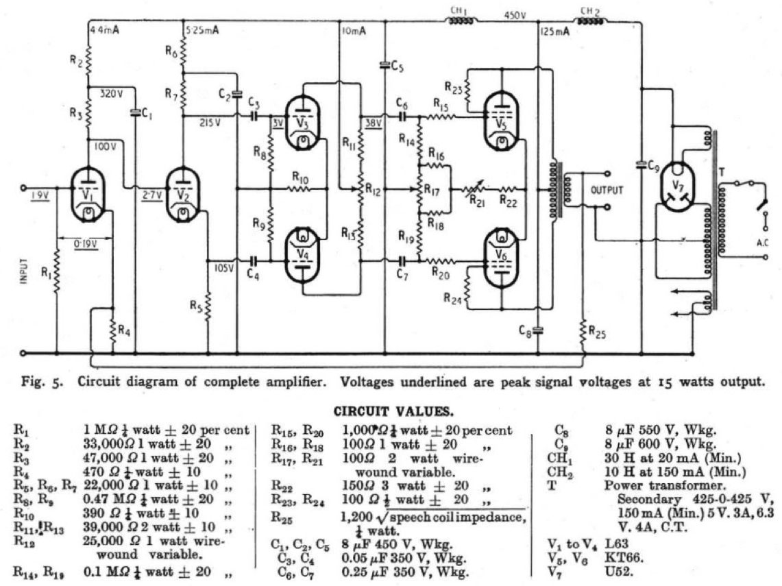 Schematics Preservation Sound Page 2 Pre Lifier Circuit Likewise 5 Band Graphic Equalizer Diagrams The Original Williamson Hi Fi Amplifier Schematic